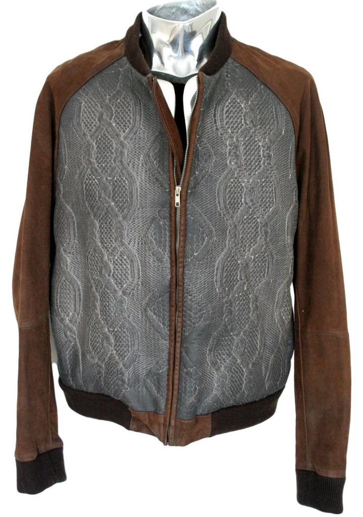 Men's Diesel Black Gold Texture Leather Bomber Jacket - atemporali