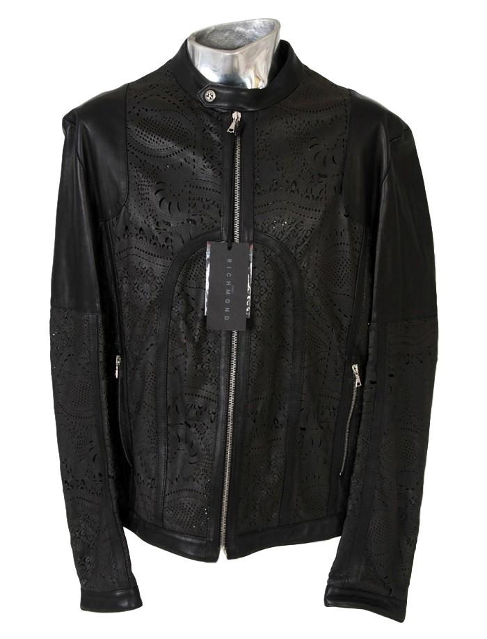 Men's John Richmond Leather Laser-cut Jacket - atemporali