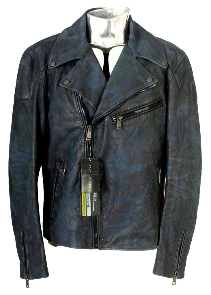Men's Ralph Lauren Black Label Leather Camouflage Biker Jacket - atemporali