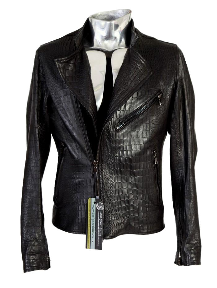 Men's Jaded by Knight Crocodile Embossed Leather Jacket - atemporali