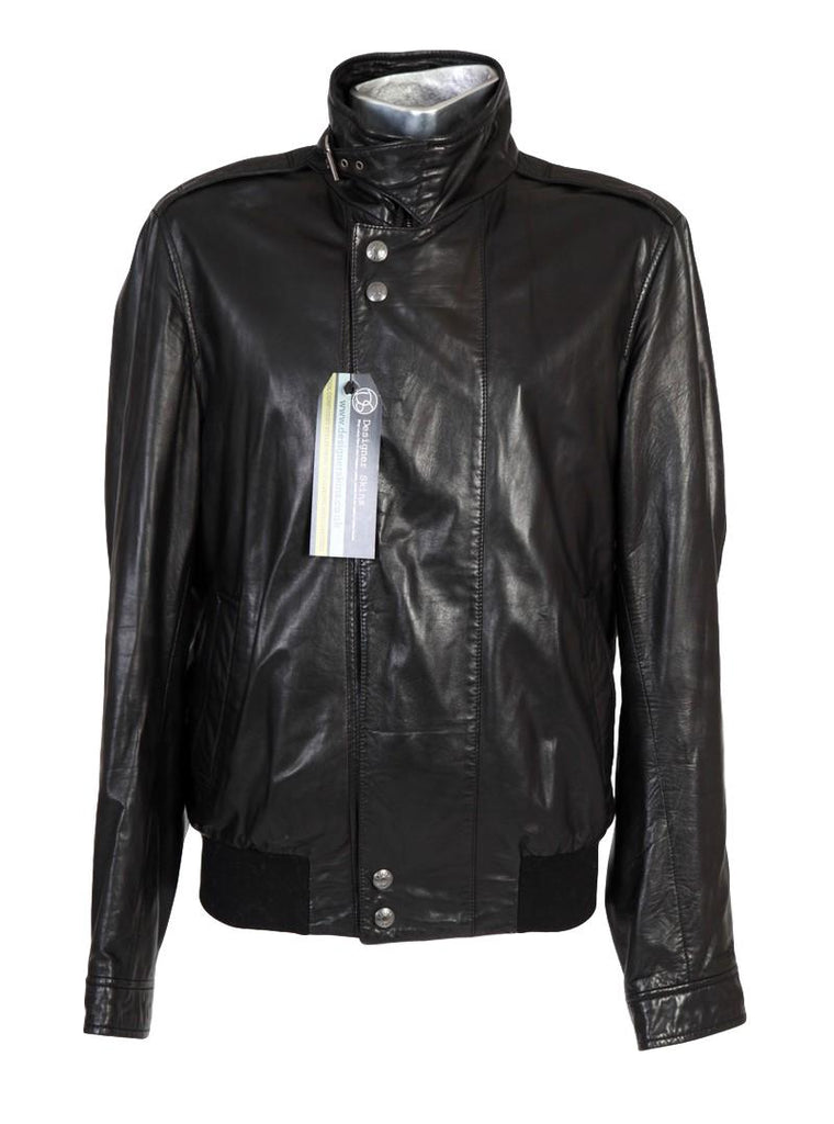 Men's Simon Spurr Lambskin Black Leather Bomber Jacket EU50 Large - atemporali