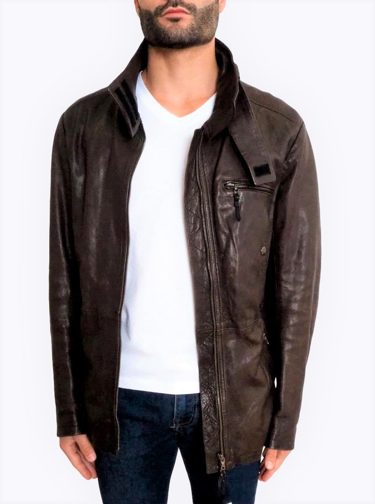 Zip Front Leather Jacket
