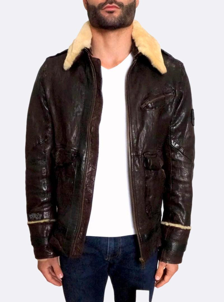 ´Letric' Fur Collar Leather Jacket
