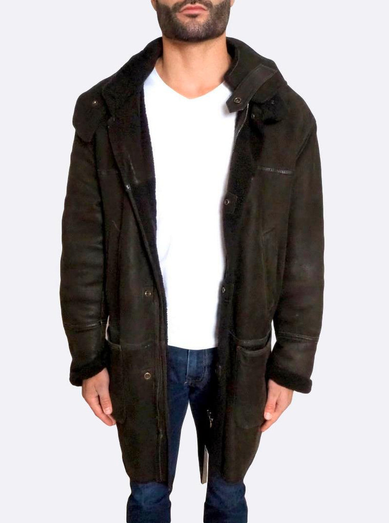 Hooded Shearling Leather Jacket