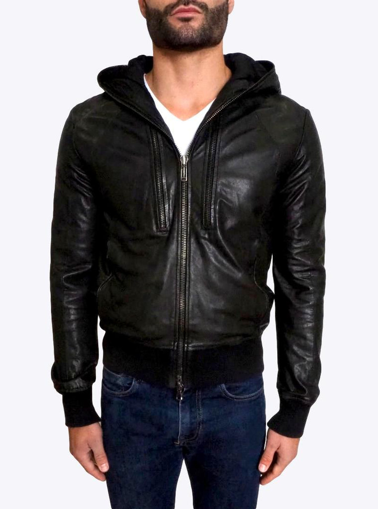 Hooded Bomber Leather Jacket