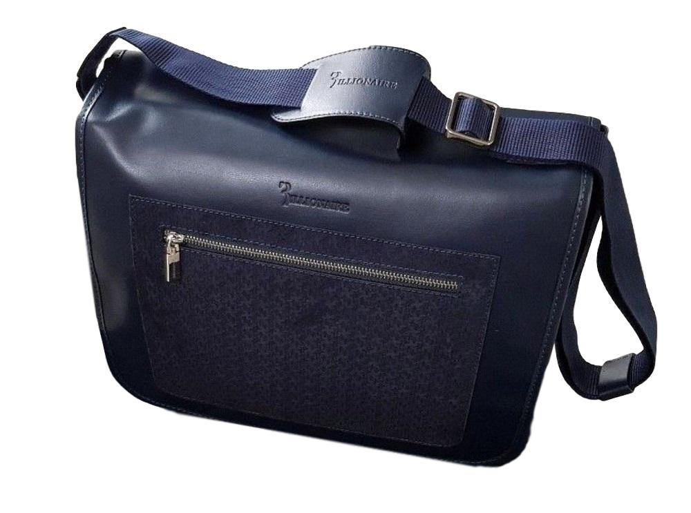 Men's Billionaire Couture Leather Messenger Bag - atemporali