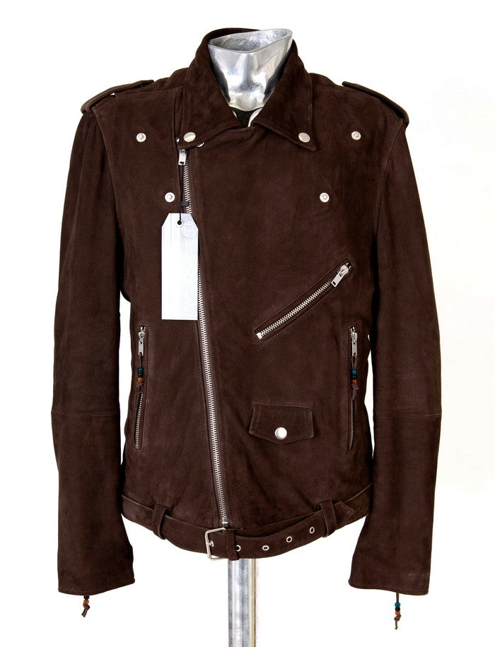 Men's BLK DNM Brown Leather Suede Biker Jacket - atemporali