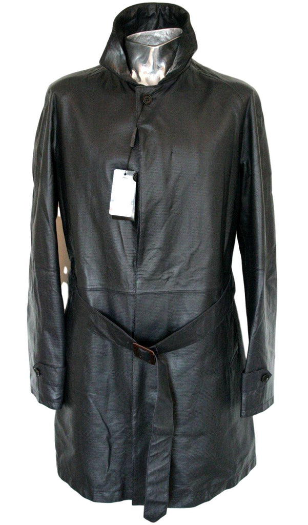 Men's Emporio Armani Textured Leather Trench Coat - atemporali