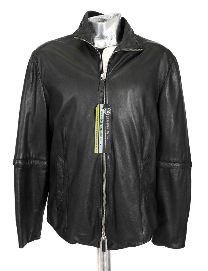 Men's Emporio Armani Zip-off Sleeves Leather Jacket - atemporali