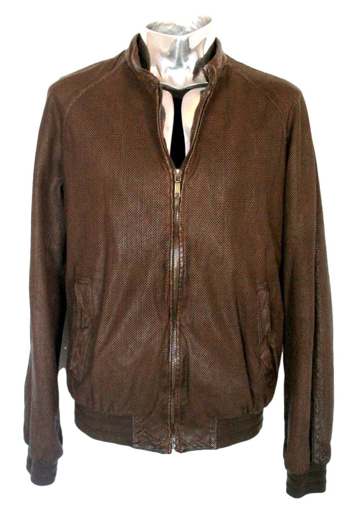 Men's Santacroce Net Leather Bomber Jacket - atemporali