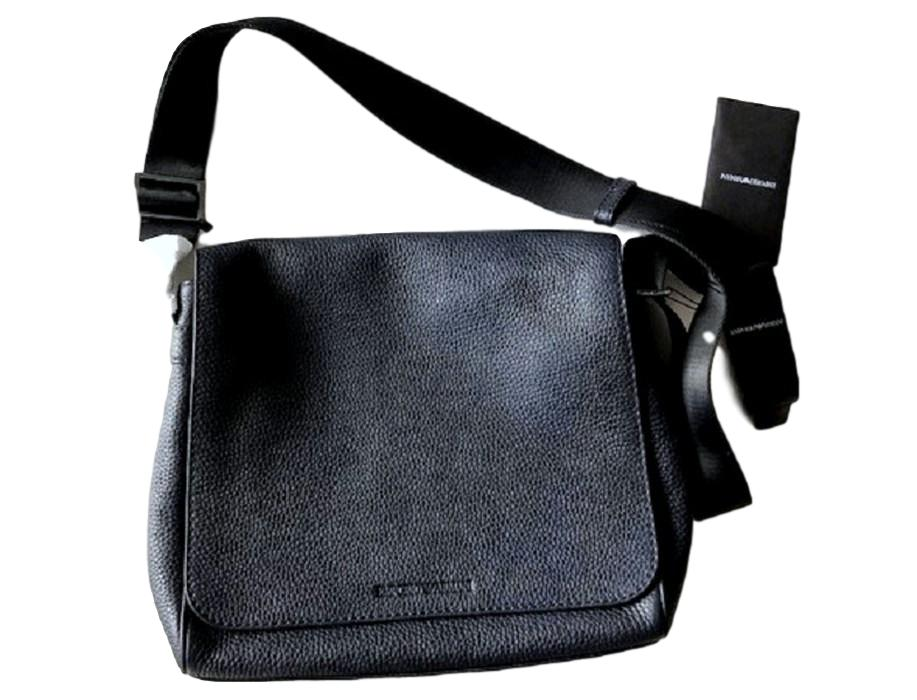 Men's Emporio Armani Textured Leather Messenger Bag - atemporali