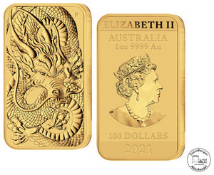 Australien 100 $ 2021 Rectangle Dragon 1 oz 999 Au / Gold * St/Bu * gekapselt