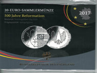 BRD 20 Euro 2017,500 Jahre Reformation ,Silber *Spgl.* Ovp.