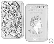 Australien 1 Dollar 2021 Rectangle Dragon 1 Oz 999 Silber *prägefrisch*