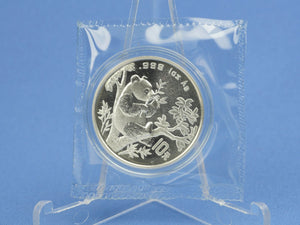 China 10 Yuan 1995 , Panda Bär , 1 oz 999 Silber *st* in OVP Folie