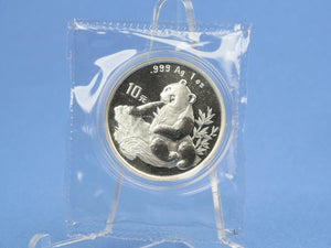 China 10 Yuan 1998 , Panda Bär , 1 oz 999 Silber *st* in OVP Folie
