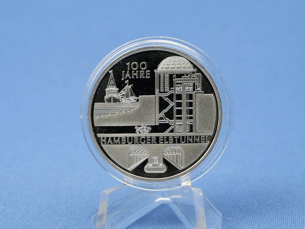 10 Euro BRD 2011 J , Hamburger Elbtunnel , 625 Silber *PP/Proof