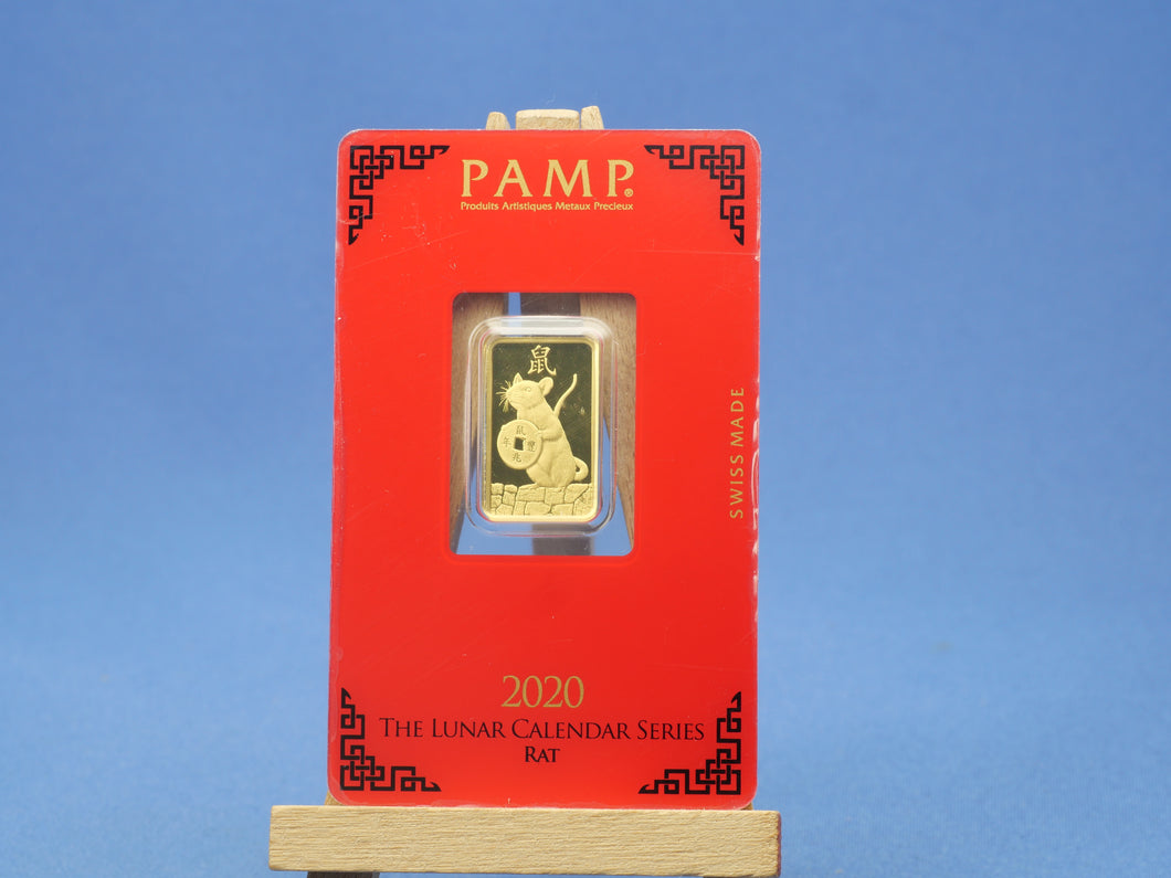 5 Gramm 999.9  Goldbarren PAMP 2020, The Lunar Calendar Series Rat , im Original Blister *pfr*