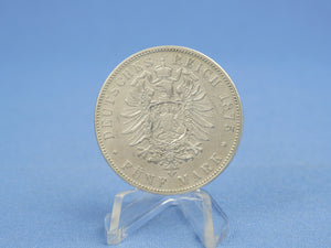 Hessen 5 Mark 1875 H , Ludwig III. (1848-1877) , Silber *fast ss* Jaeger 67