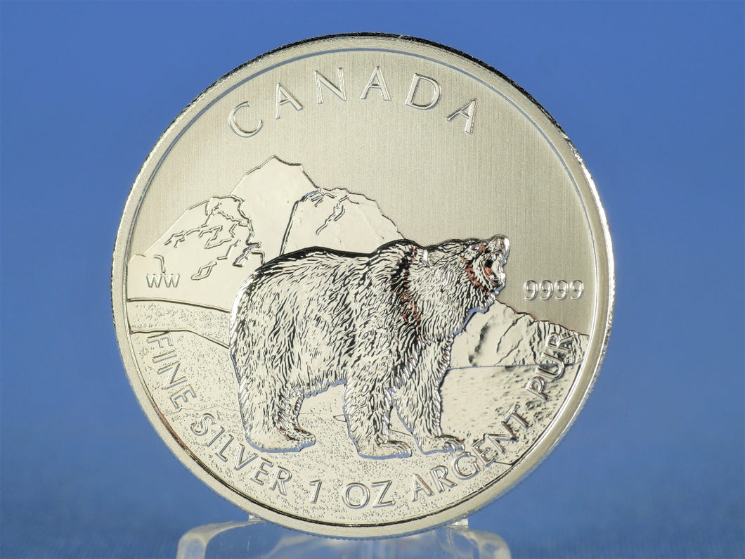 Kanada 5 Dollars 2011 , Wildlife Grizzly , 1 oz 999 Silber / AG
