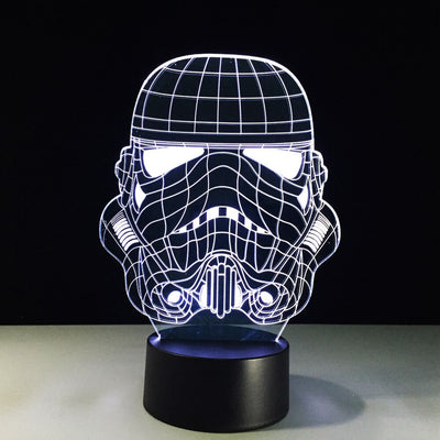 LAMPE STAR WARS<BR>CASQUE STORMTROOPER (VUE DE FACE)