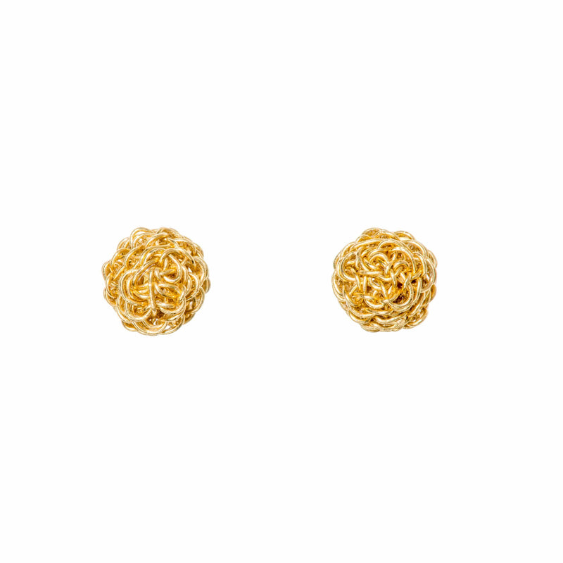AINA Gold Ball Mesh Stud Earrings