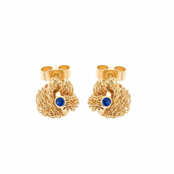 MEMORY KNOT Blue Sapphire Stud Earrings