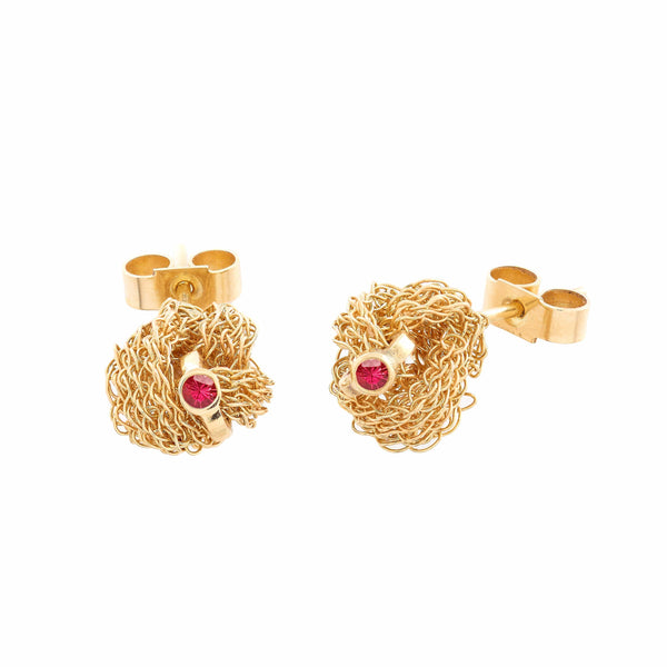 MEMORY KNOT Ruby Stud Earrings