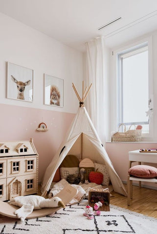 white pink color room