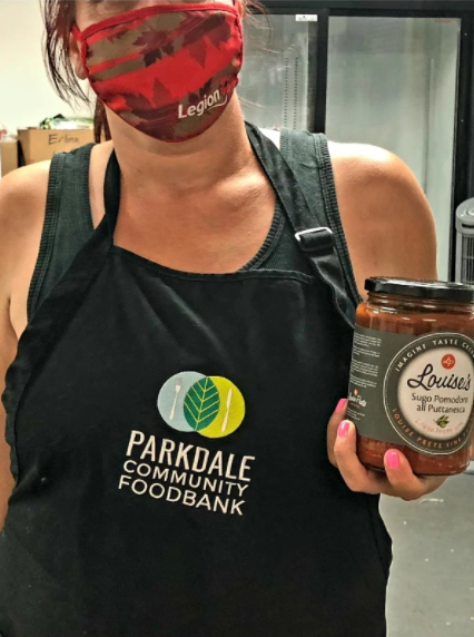 Louise Prete Food donates pasta sauce at the Parkdale Community Food Bank