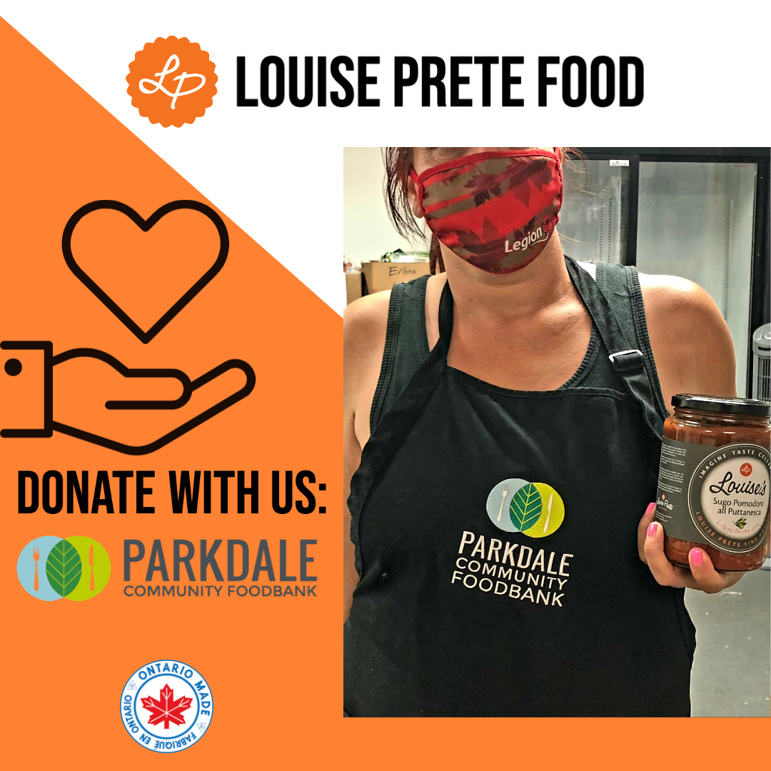 woman holding louise prete sauce jar with donation to parkdale food bank