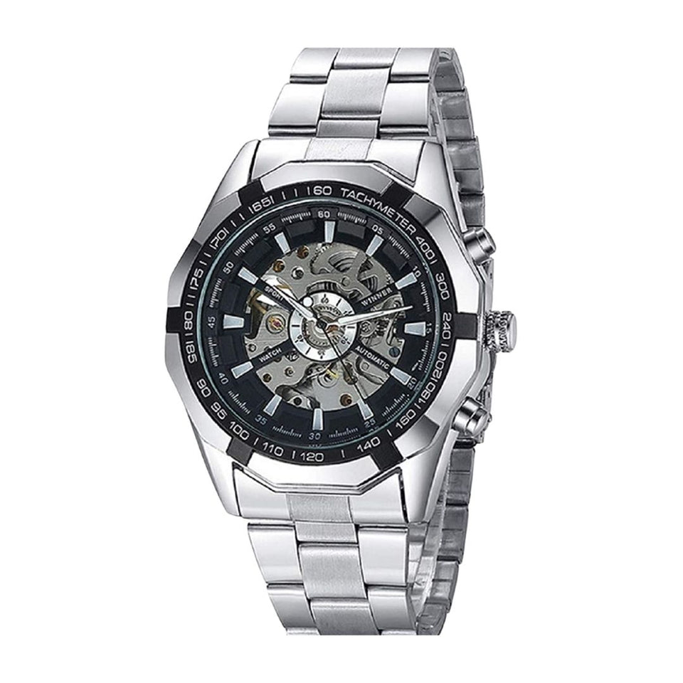FORSINING 340 Mechanical Skeleton Stainless Steel Waterproof Automatic Self-Winding Watch for Men (FREE TWS4 WIRELESS  BLUETOOTH EARBUDS)