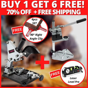 ANGLE GRINDER HOLDER + FREE DRILL STAND, LASER LEVEL PRO AND 4PCS 90° ANGLE CORNER CLAMP