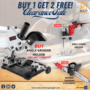 ANGLE GRINDER HOLDER + FREE DRILL STAND AND GRINDER-CHAINSAW ATTACHMENT