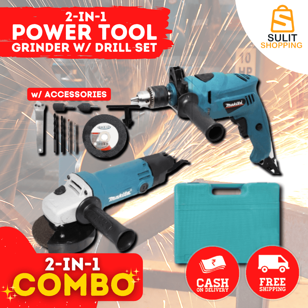 2 IN 1 POWER TOOL GRINDER WITH DRILL SET + 12PCS FREEBIES