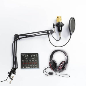 BM-800 CONDENSER MICROPHONE SET (W/ V8 Soundcard & Noise Cancelling Headphones)