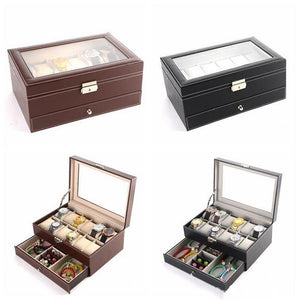 12 Grids Slots Double Layers PU Leather Watch Storage Box Professional Watch Case Rings Bracelet Organizer Box Holder