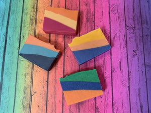 beer soaps made with craft beer from eureka heights brewing company rainbow background striped artisan handmade soap spunkndisorderly texas craft beer soap