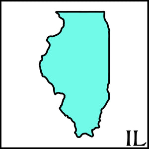 Illinois state outline with Illinois postal abbreviation IL state outline teal and black on white background