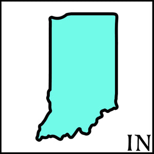 Indiana state outline black state outline teal white background Indiana postal code IN Indiana craft beer soaps