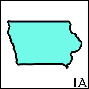 Iowa state outline IA black outline teal fill Iowa state Iowa craft beer soaps