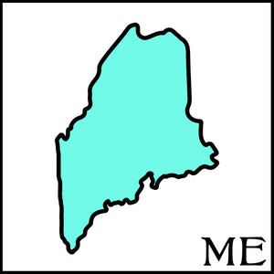 Maine state outline postal abbreviation ME black outline of Maine with teal fill spunkndisorderly