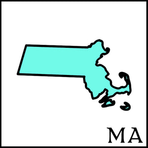 Massachusetts state outline MA postal abbreviation teal Massachusetts black Massachusetts state outline