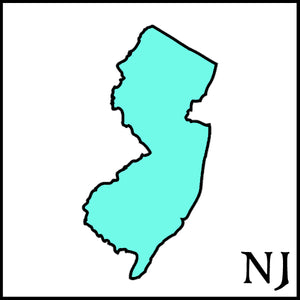 New Jersey state outline teal New Jersey postal abbreviation NJ craft beer soap handmade with New Jersey craft breweries