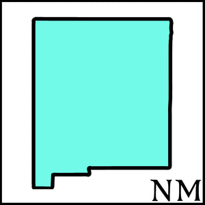 New Mexico State outline black NM outline teal fill New Mexico craft beer soaps