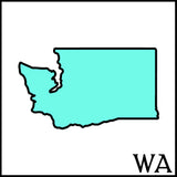 Washington state outline teal WA