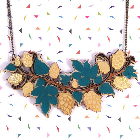 statement hops necklace WorkingClasp etsy handmade beer jewelry for her
