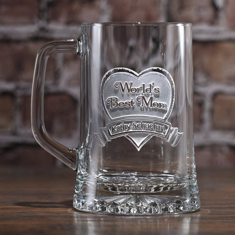 world's best mom beer mug glass gift ideas for a beer loving mom Mother's Day gift idea from crystalimagery crystal imagery
