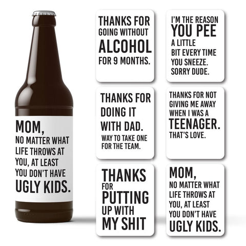 Mother's Day funny beer labels gift idea for beer loving mom TheRitzyRose