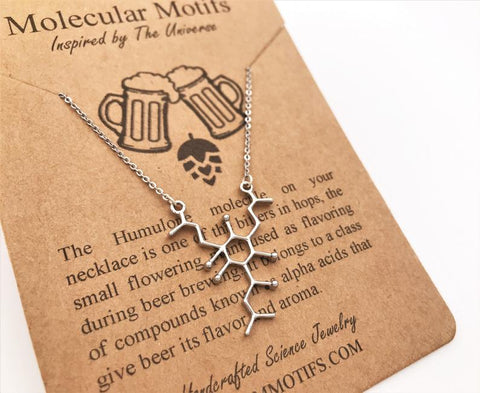 molecular minded necklace handmade beer jewelry for her humulone molecule